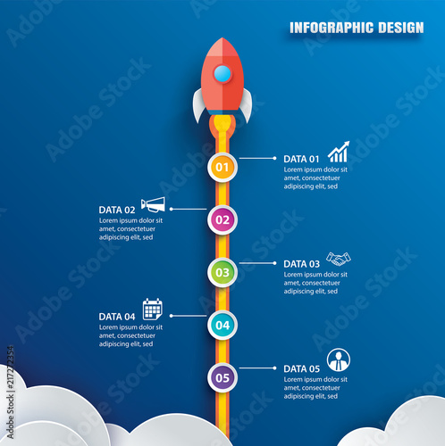 Startup infographic with 5 circle vertical data template. Vector illustration abstract rocket paper art on blue background. Can be used for planning, strategy, workflow layout, business step, banner Wall mural