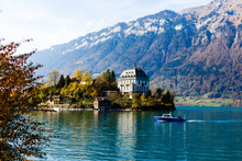 Autumn Interlaken In Switzerland, Alps Mountains In Background