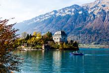 Autumn Interlaken In Switzerland, Alps Mountains In Background