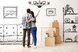 canvas print picture - Young couple imagining interior of new house. Moving day