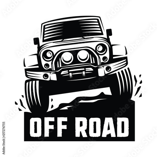 Off Road Suv Car Monochrome Template For Labels Emblems Badges Or