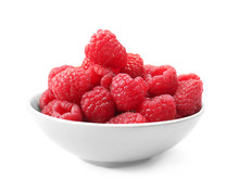 Bowl With Fresh Ripe Raspberries On White Background