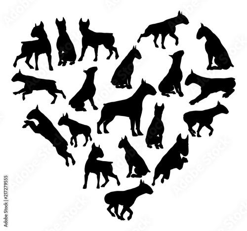 Billede på lærred Bull Terrier Dog Heart Silhouette Concept