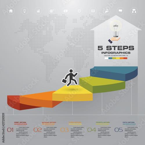 Fotografie, Tablou 5 steps staircase Infographic element for presentation. EPS 10.