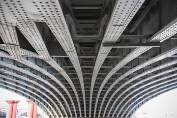 Abstract view under the Blackfriars railway bridge in London