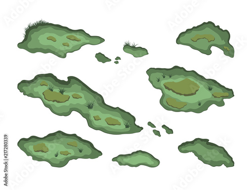 Montage in der Fensternische Olivgrun Set of swamps in isometric style. Isolated image of forest marsh. 3d landscape with cartoon fens. Vector illustration