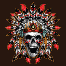 Chief Skull Illustration Backg...