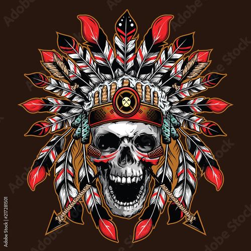 chief skull illustration background for shirt design Wallpaper Mural