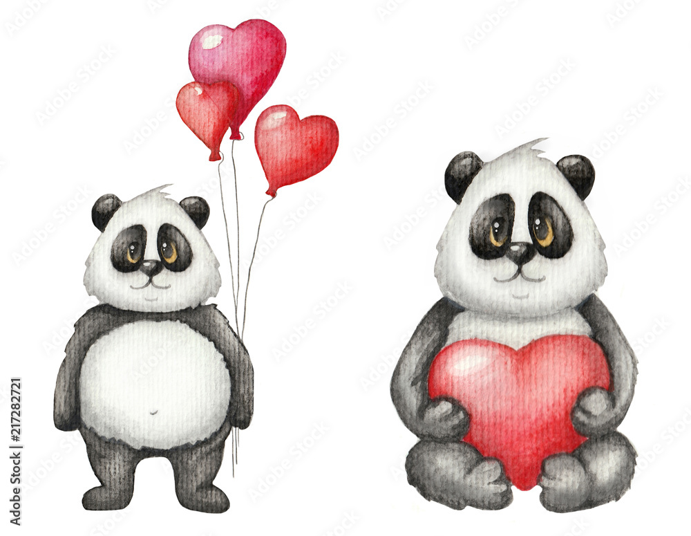 Watercolor Saint Valentine's Day cute card with Panda in love. Children's illustration on white background