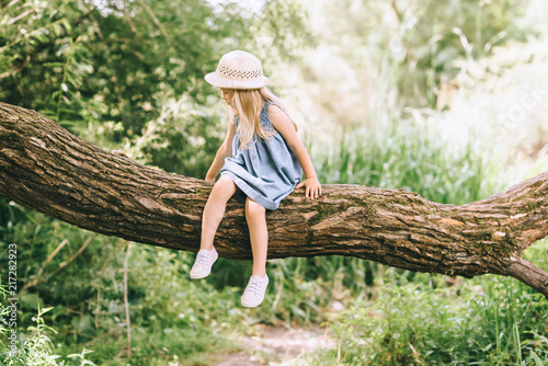 kid in blue dress and straw hat sitting on tree in summer