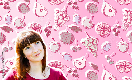 Photo Young Woman on Fruits Background