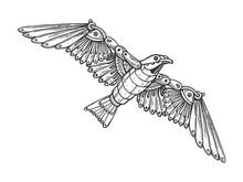 Mechanical Seagull Bird Animal Engraving Vector