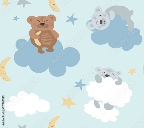 Valokuva  Blue seamless pattern with cute sleeping bears and clouds.