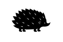 Black Hedgehog Silhouette. Vector
