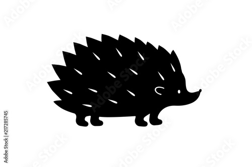 Photographie Black Hedgehog silhouette. Vector