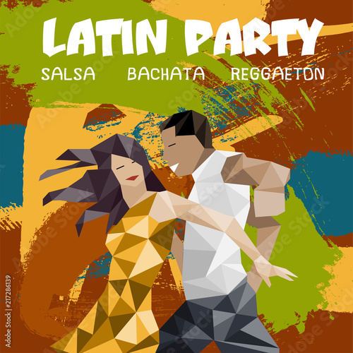 Foto Salsa party illustration with dancing couple