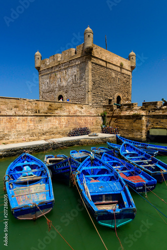 Photo Blue boats And blue sky at the Essaouira Citadel, Morocco