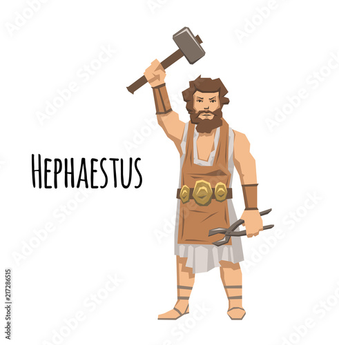 Photo  Hephaestus, ancient Greek god of blacksmith and fire