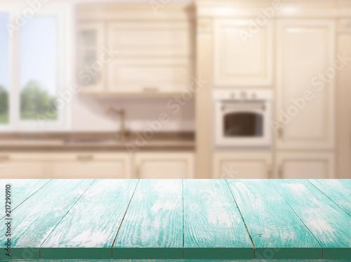 Papiers peints Pays d Afrique Kitchen, background. Empty textured wooden table and kitchen window shelves blurred background