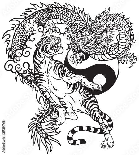 Valokuva Chinese dragon versus tiger