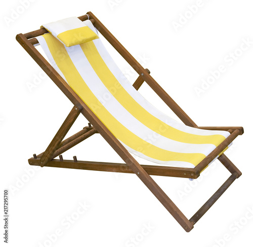 Fényképezés Wooden folding deck chair isolated on white with clipping path