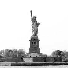 Statue Of Liberty, New York City, USA. Black And White Image.