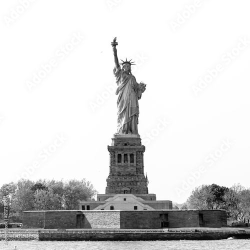 Deurstickers New York City Statue of Liberty, New York City, USA. Black and white image.