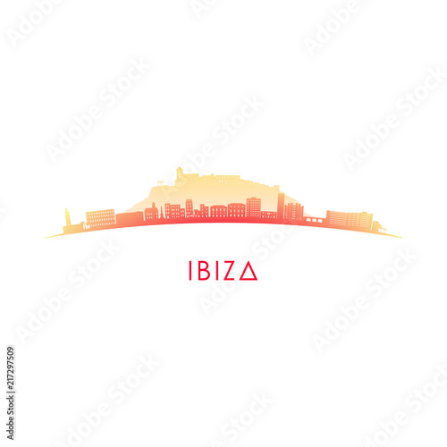 Ibiza skyline silhouette. Vector design colorful illustration. Wall mural
