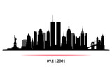 Fototapeta Nowy York - New York City Skyline with twins tower. World Trade Center. 09.11.2001 American Patriot Day anniversary banner. Vector illustration.