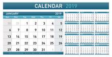 Calendar Planner 2019 Year. Simple Minimal Wall Type Calendar Template. Week Starts From Sunday. Vector Illustrator