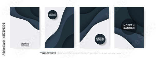 Cadres-photo bureau Abstract wave Paper Cut Wave Shapes Curve. Modern Origami Design for Business Presentations, flyers, posters, banner, brochure. vector illustrator