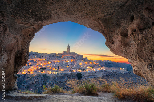 Spoed Fotobehang Europa Matera, Italy. Cityscape image of medieval city of Matera, Italy during beautiful sunset.