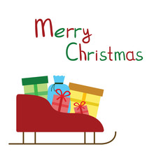 Colored Christmas Presents Logo On The Sledge Text White Background
