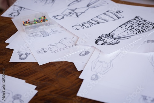 Sketches of design on table in the studio