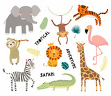 Fototapeta Fototapety na ścianę do pokoju dziecięcego - Set of cute funny animals flamingo, sloth, crocodile, elephant, giraffe, lion, tiger, monkey, zebra. Isolated objects on white. Vector illustration Scandinavian style design Concept kids print