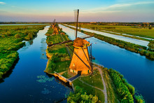 Aerial View Of Traditional Windmills In Kinderdijk, The Netherlands.