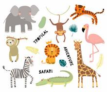 Set Of Cute Funny Animals Flamingo, Sloth, Crocodile, Elephant, Giraffe, Lion, Tiger, Monkey, Zebra. Isolated Objects On White. Vector Illustration Scandinavian Style Design Concept Kids Print
