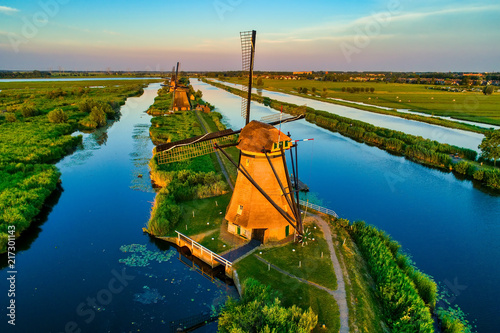 Aerial view of traditional windmills in Kinderdijk, The Netherlands Wallpaper Mural