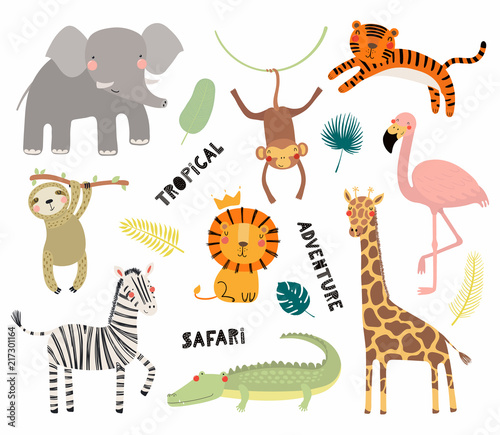 In de dag Illustraties Set of cute funny animals flamingo, sloth, crocodile, elephant, giraffe, lion, tiger, monkey, zebra. Isolated objects on white. Vector illustration Scandinavian style design Concept kids print