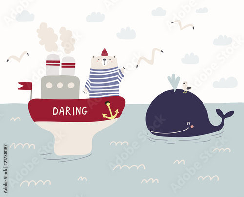Tuinposter Illustraties Hand drawn vector illustration of a cute funny sailor bear sailing on a ship, whale swimming in the sea, seagulls, clouds. Scandinavian style flat design. Concept for kids, nursery print.