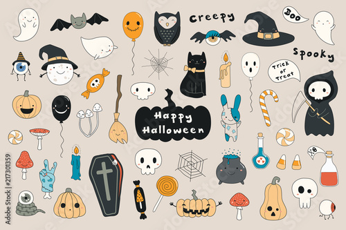 Montage in der Fensternische Abbildungen Big set of kawaii funny Halloween elements, with text, pumpkins, ghosts, monsters, zombie, death, candy, balloons. Isolated objects. Hand drawn vector illustration. Line drawing Design concept print