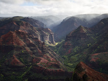 USA, Hawaii, Kauai, Waimea Canyon Scenic, Aerial View
