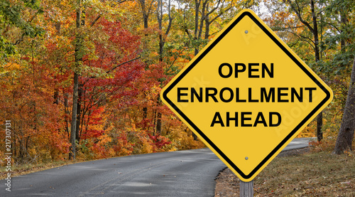 Fotomural Open Enrollment Ahead Caution Sign
