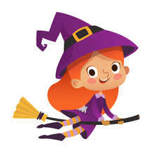 Halloween Redhead Flying Little Witch. Girl Kid In Halloween Costume Flying Over The Moon. Retro Vintage. Isolated