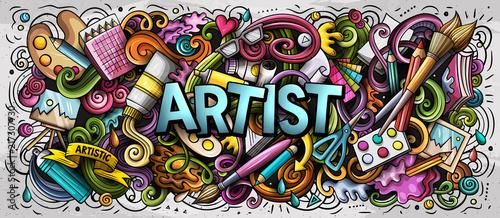 Photographie Cartoon cute doodles Artist word