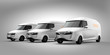 Fleet of white electric powered delivery vans on gray background. 3D rendering image.