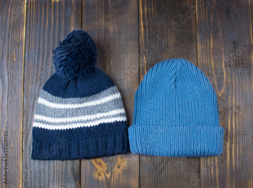 Fotografia, Obraz  Two hats for a boy with a pompon and without