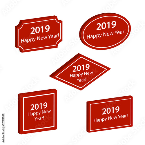 set of red labels happy new year 2019