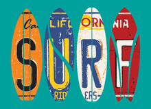Basic CMYKCalifornia Surf Rider License Plate Vector Grunge Patchwork