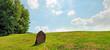 Leinwanddruck Bild Findling auf einer Wiese - Panorama